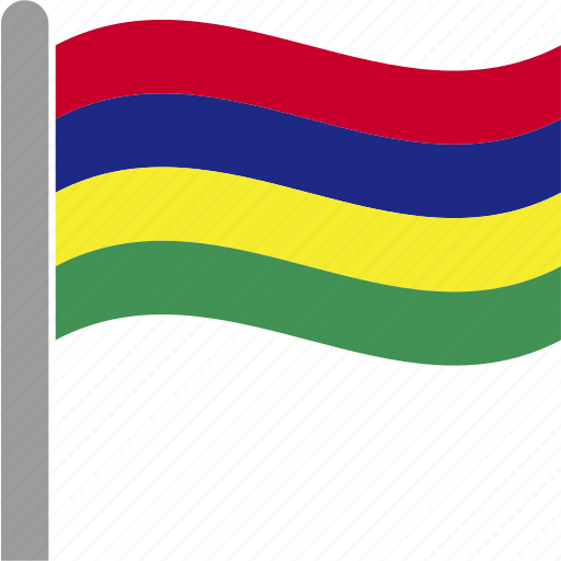 country, flag, mauritius, mus, pole, waving icon
