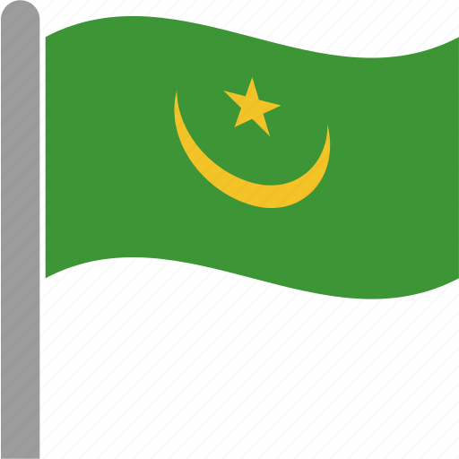 country, flag, mauritania, mauritanian, mrt, pole, waving icon