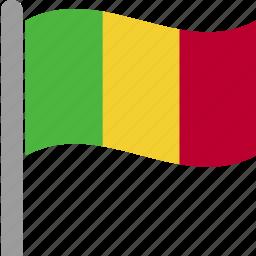 cfa, country, flag, mali, mli, pole, waving icon