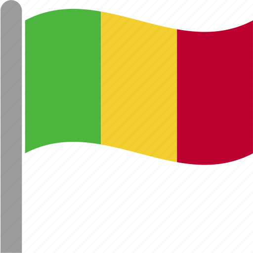 cfa, country, flag, mali, mli, pole, waving icon