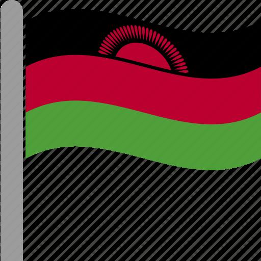 country, flag, malawi, malawian, mwi, pole, waving icon