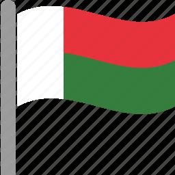country, flag, madagascar, malagasy, mdg, pole, waving icon