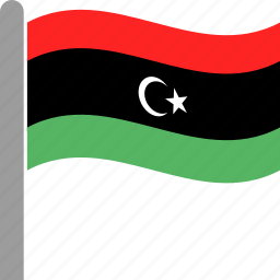 country, flag, lby, libya, libyan, pole, waving icon