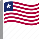 country, flag, lbr, liberia, liberian, pole, waving icon