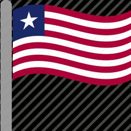 country, flag, lbr, liberia, liberian, pole, waving icon