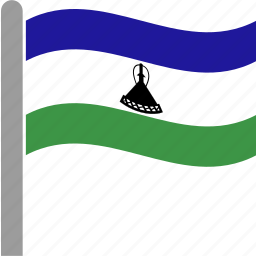 country, flag, lesotho, lso, pole, waving icon