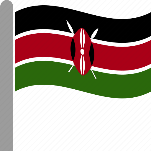 country, flag, ken, kenya, kenyan, pole, waving icon