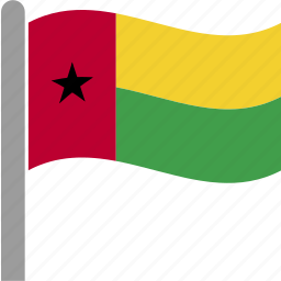 bissau, country, flag, gnb, guinea, pole, waving icon