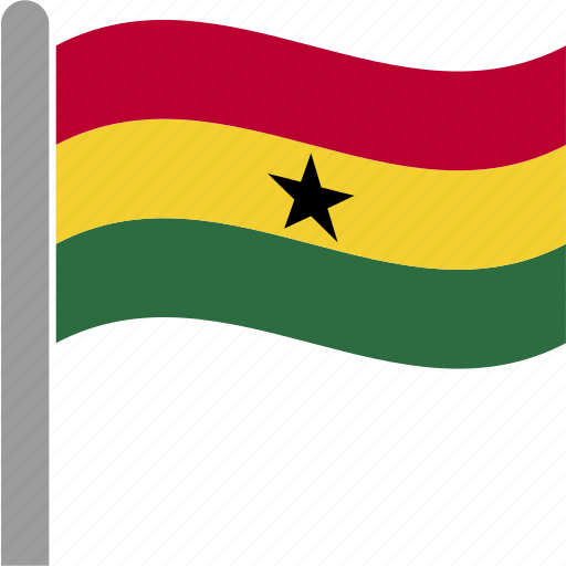 country, flag, gha, ghana, ghanaian, pole, waving icon
