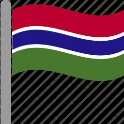 country, dalasi, flag, gambia, gambian, pole, waving icon