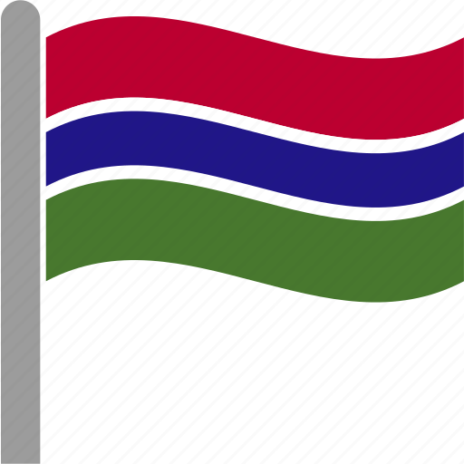 country, dalasi, flag, gambia, gambian, pole, waving icon