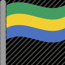 central, cfa, country, flag, gabon, pole, waving icon