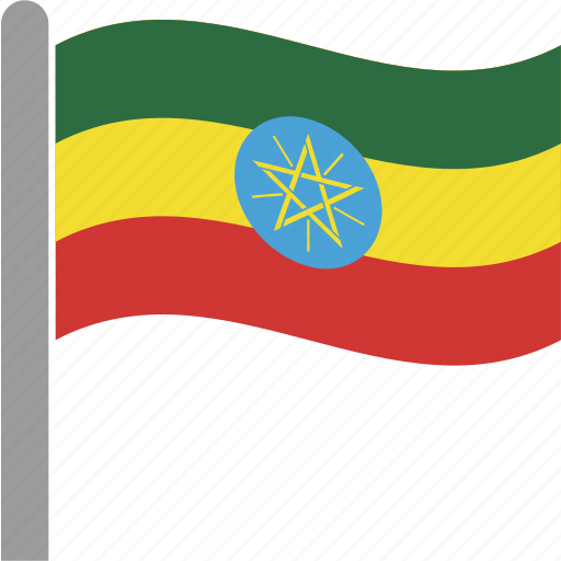 country, eth, ethiopia, ethiopian, flag, pole, waving icon