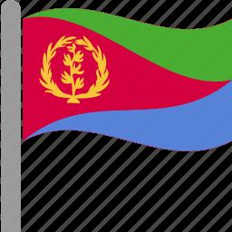 country, eri, eritrea, eritrean, flag, pole, waving icon