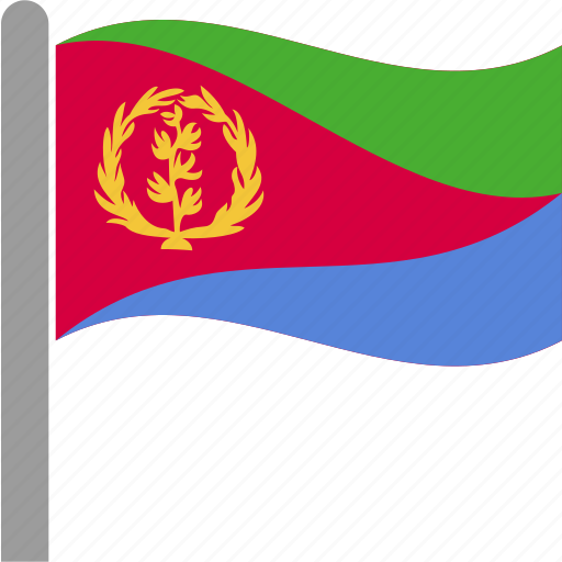 country, eri, eritrea, eritrean, flag, pole, waving icon