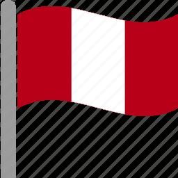 country, flag, per, peru, peruvian, pole, waving icon