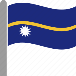 country, flag, nauru, nru, pole, waving, yaren icon
