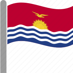 country, flag, kir, kiribati, kiribatian, pole, waving icon