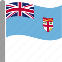 country, fiji, fijian, fji, flag, pole, waving icon