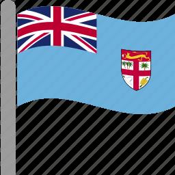 country, fiji, fijian, fji, flag, pole, waving icon