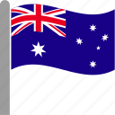 aus, australia, australian, country, flag, stars, waving icon