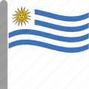 country, flag, pole, uruguay, ury, waving icon
