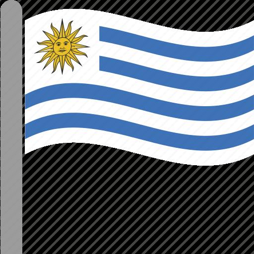 country, flag, pole, uruguay, ury, waving icon