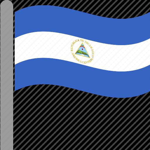 country, flag, nic, nicaragua, nicaraguan, pole, waving icon