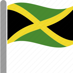 country, flag, jam, jamaica, jamaican, pole, waving icon