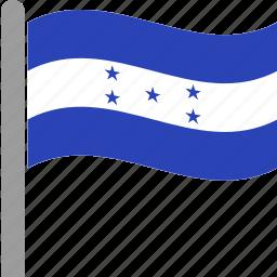 country, flag, hnd, honduran, honduras, pole, waving icon