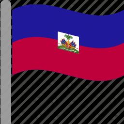 country, flag, hai, haiti, hti, pole, waving icon
