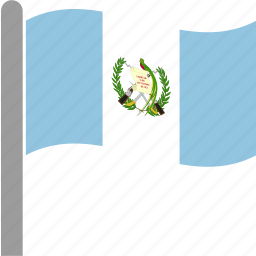 country, flag, gtm, guatemala, guatemalan, pole, waving icon