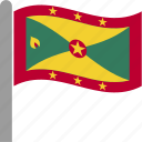 country, flag, grd, grenada, pole, waving icon