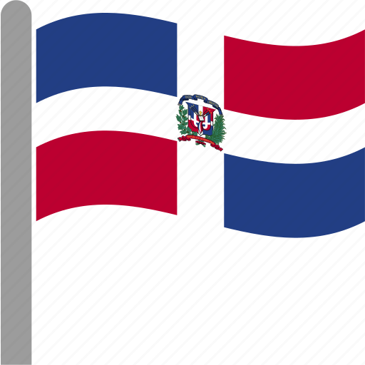 country, dom, dominican, flag, pole, republic, waving icon