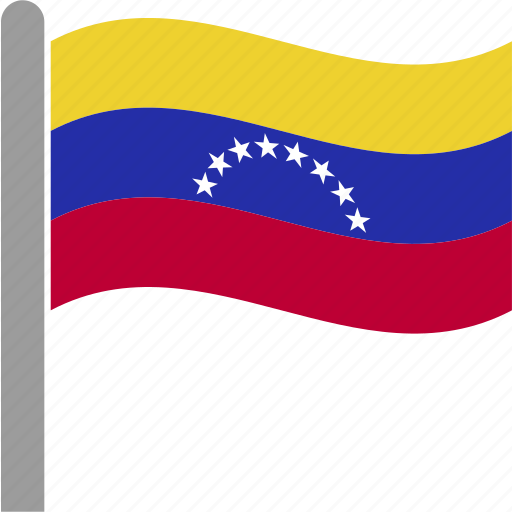 country, flag, pole, ven, venezuela, waving icon