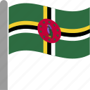 country, dma, dominica, flag, pole, waving icon