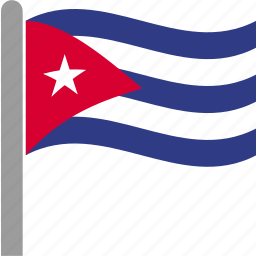 country, cub, cuba, flag, pole, waving icon