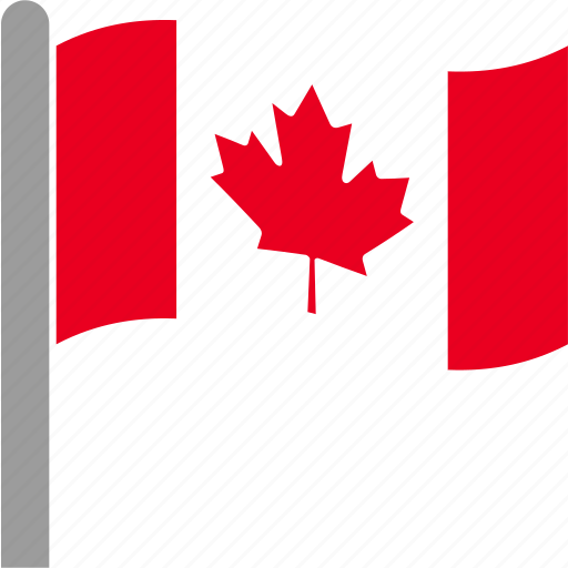 can, canada, canadian, country, flag, pole, waving icon