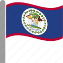 america, american, belize, country, flag, pole, waving