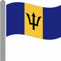 barbadian, barbados, brb, country, flag, pole, waving icon