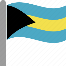 bahamas, bahamian, bhs, country, flag, pole, waving icon