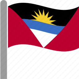 and, antigua, barbuda, country, flag, pole, waving icon