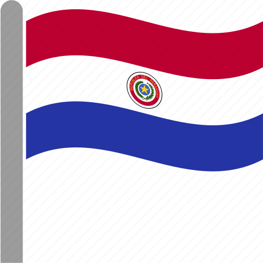 country, flag, paraguay, paraguayan, pole, pry, waving icon