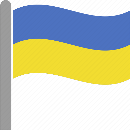 country, flag, pole, ukr, ukraine, ukrainian, waving icon