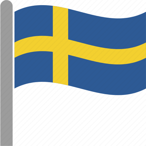 country, flag, pole, sweden, swedish, waving icon