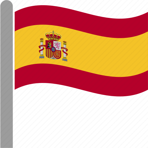 country, esp, flag, pole, spain, spanish, waving icon