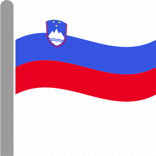country, flag, pole, slovenia, slovenian, svn, waving icon