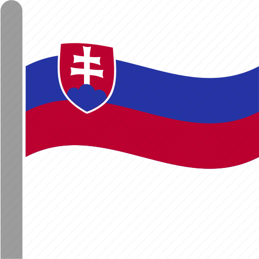 country, flag, pole, slovakia, slovakian, svk, waving icon
