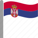 country, flag, pole, serbia, serbian, srb, waving icon