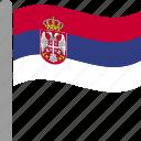 country, flag, pole, serbia, serbian, srb, waving